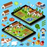 Stor uppsättning av lantliga bondebeståndsdelar Fotografering för Bildbyråer