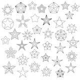 Stor uppsättning av linjen stjärnasymboler Royaltyfri Foto