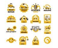 Stor uppsättning av logoer på temat av konstruktion Byggande maskineri, transport, yrkesmässig utrustning och hjälpmedel skrovlig royaltyfri illustrationer