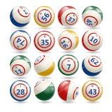 Stor uppsättning av lotteriBingobollar stock illustrationer