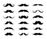 Stor uppsättning av mäns mustascher också vektor för coreldrawillustration Arkivfoto