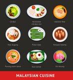 Stor uppsättning av malaysianmat Asiatisk traditionell kokkonst stock illustrationer
