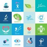 Stor uppsättning av medicinska symboler royaltyfri illustrationer