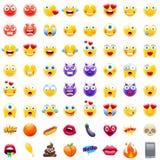Stor uppsättning av moderna Emojis Royaltyfri Foto
