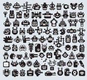 Stor uppsättning av monster- och robotframsidor. Arkivbild