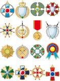 Uppsättning av olika medaljer Arkivfoton