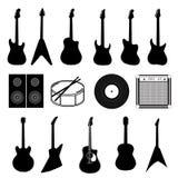 Stor uppsättning av olika isolerade musikinstrument royaltyfri illustrationer