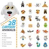 Stor uppsättning av olika tecknad filmdjur och fåglar Arkivfoton