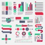 Stor uppsättning av plana infographic beståndsdelar Arkivbilder