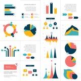 Stor uppsättning av plana infographicsbeståndsdelar Diagrammet grafen, diagrammet, intrigen, flödesdiagram, bubblar inklusive Royaltyfri Bild