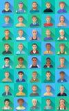 Stor uppsättning av plana symboler av olika manliga tecken Arkivfoto