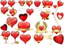 Stor uppsättning av röd hjärta stock illustrationer