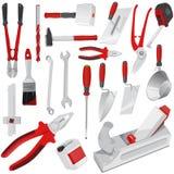 Stor uppsättning av röda konstruktionshjälpmedel Arkivbild