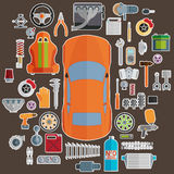 Stor uppsättning av reservdelar för bilar Trimma och modernisering Royaltyfria Foton