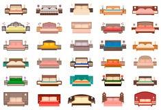 Stor uppsättning av sängar med nattduksbord, lampor och huvudgavlar Inre möblemanggrupp för sovrum i plan stil vektor illustrationer