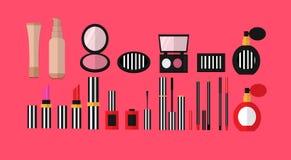 Stor uppsättning av skönhetsmedel, dam vektor illustrationer
