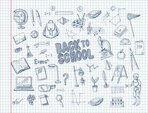Stor uppsättning av skolatillförsel, liksom en ryggsäck, en bok, en bärbar dator, ett jordklot och andra, dragen penna på en ante royaltyfri illustrationer
