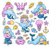 Stor uppsättning av små sjöjungfruklistermärkear stock illustrationer