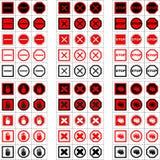 Stor uppsättning av stopptecken och symboler Arkivfoto