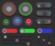 Stor uppsättning av strömbrytare, knappar, glidare på en mörk bakgrund Fotografering för Bildbyråer