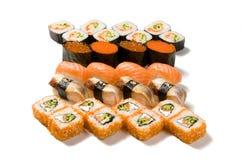 Stor uppsättning av sushi Arkivbilder