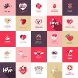 Stor uppsättning av symboler för valentindag Arkivbild