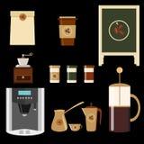 Stor uppsättning av symboler i plan stil Stilfull kaffeuppsättning av symboler Kaffe kaffe dricker, kaffekrukor och andra apparat Royaltyfri Fotografi