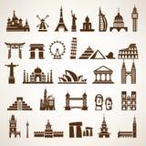 Stor uppsättning av världsgränsmärken och historiska byggnader Arkivfoton