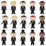 Stor uppsättning av vektorbrudgummen Stick Figures royaltyfri illustrationer