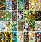 Stor uppsättning av vertikala kort med fåglar och blommor Royaltyfri Fotografi