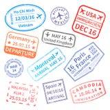 Stor uppsättning av visumstämplar för internationellt lopp på vit vektor illustrationer