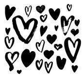 Stor uppsättning för borstepennhjärta Olik hjärtasamling för handskrift royaltyfria foton