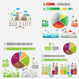 Stor uppsättning för ekologi av infographics Arkivbild