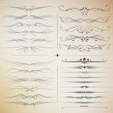 Stor uppsättning för filigran av calligraphic beståndsdelar för design Fotografering för Bildbyråer