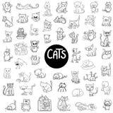 Stor uppsättning för svartvita katter stock illustrationer
