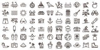 Stor uppsättning för symbol för sommarsemestrar Tunn linje illustrationer för vektor royaltyfri illustrationer