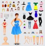 Stor uppsättning för unikt flickatecken för skapelse royaltyfri illustrationer