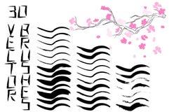 Stor uppsättning för vektor av 180 olika grungeborsteslaglängder royaltyfri illustrationer