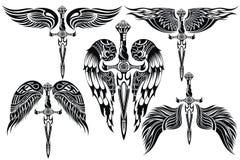 Stor uppsättning för vingar och för svärd stock illustrationer