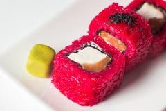 stor uppsättning med sushi och rullar Royaltyfria Foton