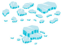 Stor uppsättningtecknad film för isberg Is och isberg i isometrisk 3d sänker stil Uppsättning av det olika iskvarteret Isolerad v Royaltyfri Foto