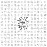 Stor upps?ttning med blockchain- och cryptomoneysymboler Redigerbar slagl?ngd vektor illustrationer