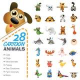 Stor uppsättning av olika tecknad filmdjur och fåglar Arkivfoto