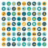 Stor uppsättning (81) av plana datorsymboler Arkivbild