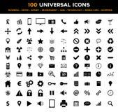 Stor uppsättning av 100 svarta plana symboler för universal - affär, kontor, finans, miljö och teknologi Royaltyfria Foton