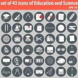 Stor uppsättning av symboler av utbildning och vetenskap Arkivbild