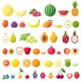 Stor uppsättning för fruktvektorsymboler Modern plan design Isolerat anmärker Arkivfoto