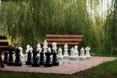Stor utomhus- schackuppsättning Fotografering för Bildbyråer