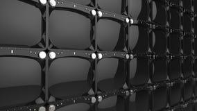 Stor vägg av svarta skinande TVskärmar vektor illustrationer