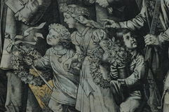 Stor väggmålning av en monterad procession av linjalerna av Sachsen Arkivbilder